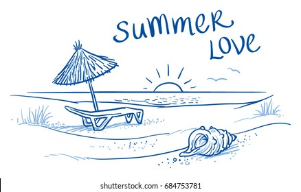 Summer beach with sunset landscape with shells and typography. Hand drawn line art doodle vector illustration.