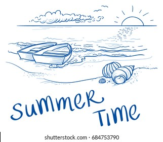 Summer beach sunset landscape with two boats on shore, seashells and typography. Hand drawn line art doodle vector illustration.