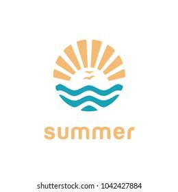 summer beach surf, surfing silhouette sea sun rays logo design inspiration