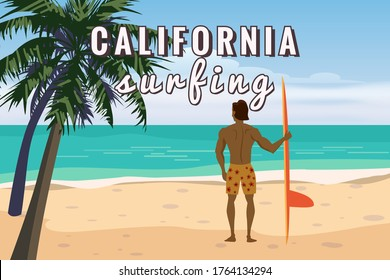 Summer beach surfer character man with surfboard on California ocean coast, palms sand surf. Beautiful tropical landscape seascape banner holiday vacation. Vector isolated cartoon styl