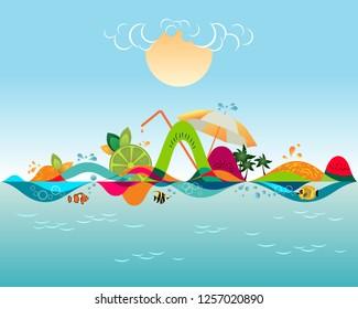 Summer beach - travel destination, vacation time banner, vector illustration