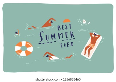 Summer beach travel poster or card with funny characters swimming, diving and having fun in the sea.