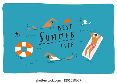 Summer beach travel poster with funny characters swimming, diving and having fun in the sea.