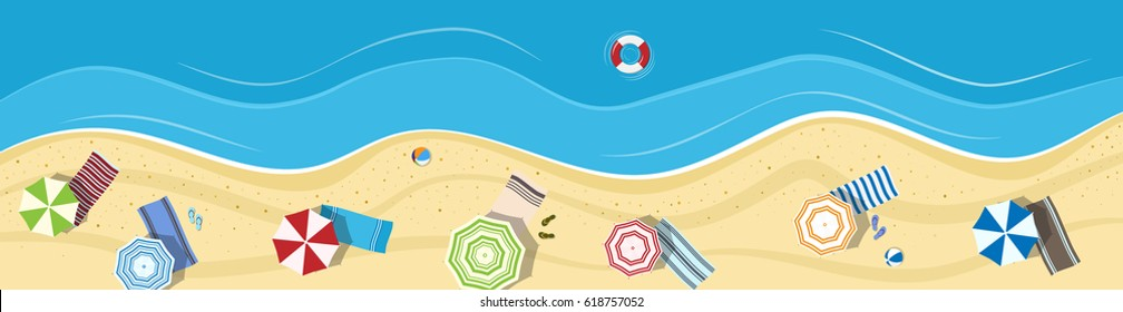 Summer beach with umbrellas and towels. Panoramic background (banner). Top view.