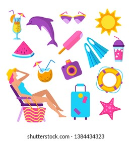 Summer beach vacation elements set. Woman in bikini sunbathing on deckchair. Sunglasses, dolphin, camera, cocktail, ice cream and other vector illustration. Tropical relaxation at seascape accessories