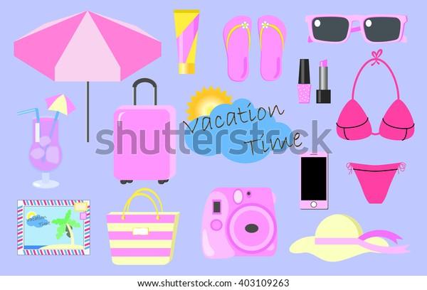 Summer Beach Vacation Pink Vector Clipart Stock Vector Royalty Free 403109263