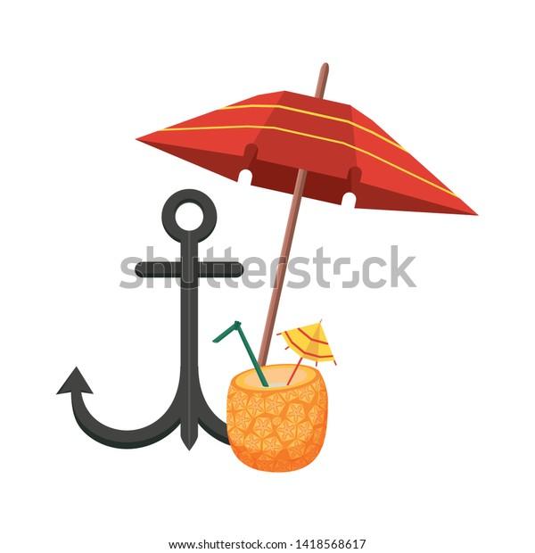 Summer Beach Vacation Beach Umbrella Anchor Stock Vector