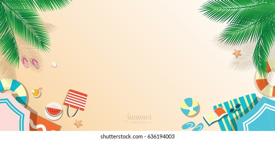 Summer beach vector background, top view panoramic web banner with copy space