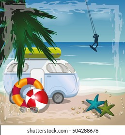 Summer beach vector concept with surfer and retro bus on the beach