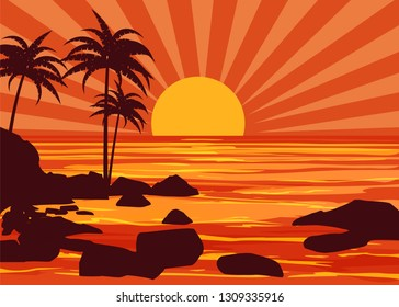 Summer beatiful sunset backgrounds coast seashore with mountaines stones beach, sun, palm trees, sky, horison. Vector illustration, isolated, template, baner, card, poster