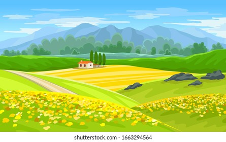 Summer beautiful landscape with farmhouse and rapeseed fields. Vector illustration.