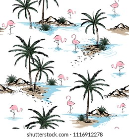 Summer Beautiful seamless island pattern on white background. Landscape with palm trees,beach ,flamingo birds and ocean vector hand drawn style.