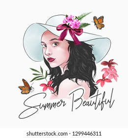 summer beautiful slogan with girl and flowers illustration