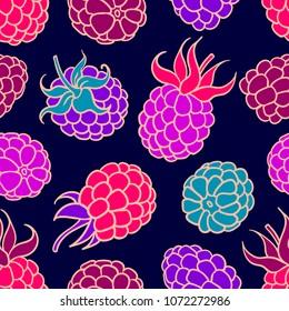 Summer berries seamless pattern. Blackberry illustration vector background.