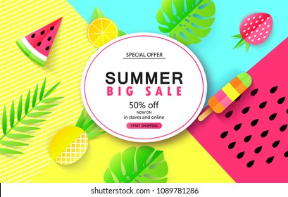 Summer Big sale banner template with tropical leaves and fruits. Paper style. Vector illustration