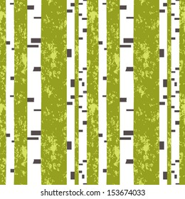 Summer birch woods seamless pattern. Vector graphics. 4 colors, No gradients.
