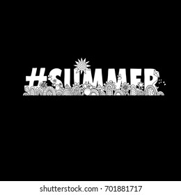#summer black and white vector illustration with the word hash tag summer, swirls, sunshine, flowers, cactus, ice-cream and flies