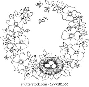 Summer blooming rosehip with bird nest floral nostalgic elegant romantic old fashioned wreath contour coloring page