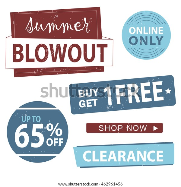 Summer Blowout Banner Set Shop Now Stock Vector (Royalty Free) 462961456