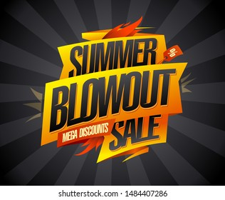 Summer blowout sale, mega discounts, vector advertising banner concept