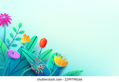 Summer border with paper cut fantasy flowers, leaves, isolated on light. Minimal 3d style floral spring background. Corner composition, copy space. Bright nature origami bouquet. Vector illustration.