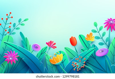 Summer border with paper cut fantasy flowers, leaves, stem isolated on light backdrop. Minimal 3d style floral spring background. Bright nature origami. Vector illustration.