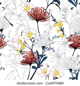 Summer botanical blooming garden flowers unfinished line drawing seamless pattern vector design for fashion,fabric,wallpaper,and all prints on white background color