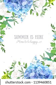 Summer botanical vector design banner. Light blue hydrangea, white rose, forget me not wildflowers, eucalyptus and herbs. Natural card or frame. Floral borders. All elements are isolated and editable