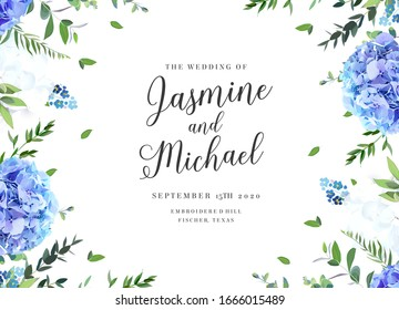 Summer botanical vector design banner. Light blue and white hydrangea, forget me not wildflowers, eucalyptus and herbs. Natural card or frame. Floral borders. All elements are isolated and editable
