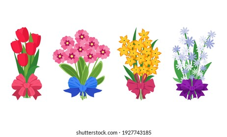 Summer bouquets. Cartoon bunches of flowers tied with silk ribbons. Colorful garden blossoming plants. Decorative floral elements template. Isolated celebrative romantic presents, vector natural set