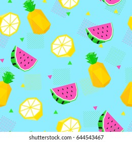 Summer bright color seamless pattern with watermelon, lemon and pineapple.
