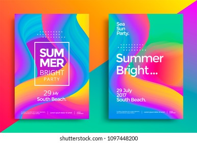 Summer bright party poster. Club night flyer. Abstract gradients waves music background.