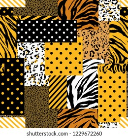 Summer bright safari animal skin mixed with geometric pattern ,polka dots and stripe in modern patchwork collage style seamless vector design for fashion,fabric , wallpaper and all prints on yellow