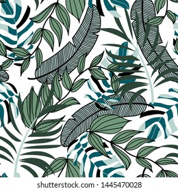 Summer bright seamless background with colorful tropical leaves and plants on white background. Vector design. Jungle print. Floral background. Printing and textiles. Exotic tropics. Fresh design.