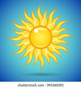 Summer bright shining yellow sun on the blue sky.