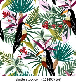 Summer Bright Tropical forest  Colorful Toucan, exotic birds, tropical flowers, palm leaves, jungle leaf, wild flower seamless vector floral pattern background on white