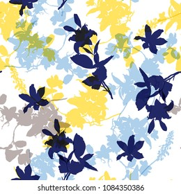 Summer bright Vector seamless pattern with hand drawing wild botanical and flowers, colorful  illustration, floral elements, for fasshion fabric and all prints on white background.