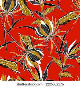 Summer bright  Vector seamless pattern of exotic flowers and  leaves drawn in line fill-in with polka dot pattern modern style design for fashion ,fabric and all prints on red background