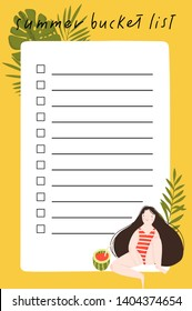 Summer bucket list with hand drawn illustration of cute girl, leaves and summer elements