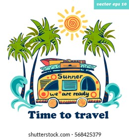Summer bus going to travel. See view with palms and sun. Vector illustration on white background. Element for logo, poster, banner, etc.