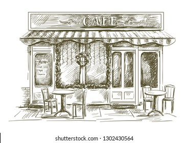 summer cafe on a white background and tables