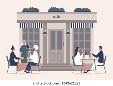 Summer cafe terrace, people drinking coffee and champagne outside on a sidewalk