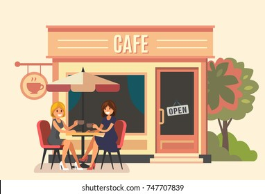 Summer cafe and two girl. Street restaurant. Vector