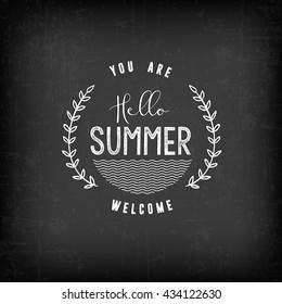 Summer Calligraphic Design in Vintage Style on Chalkboard. Greeting Card Illustration