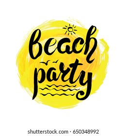 Summer calligraphic design.Vector watercolor sea texture,Beach party lettering.Retro hand drawn,Summer hot season holidays card