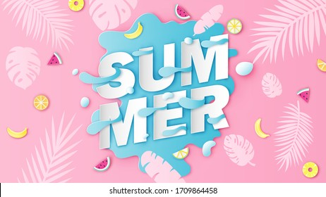 SUMMER calligraphy on sea water splash background decorated with watermelon, lemon, orange, pineapple, banana, monstera leaves and coconut leaves. paper cut and craft style. vector, illustration.