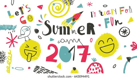 Summer Camp 2017 for kids creative and colorful poster \ banner.