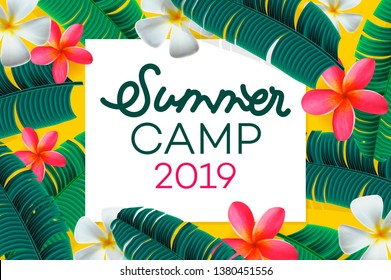 Summer camp 2019 handdrawn lettering on jungle background with colorful tropical leaves and flowers. Vector illustration