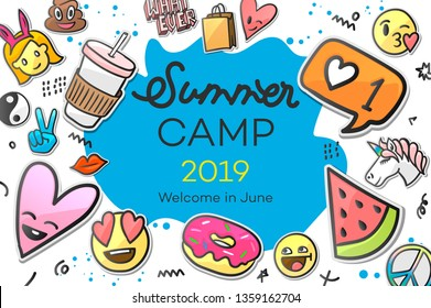 Summer Camp 2019 for kids creative and colorful poster with emoticon stickers, vector illustration.