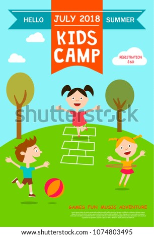 summer camp ad poster flyer template stock vector royalty free